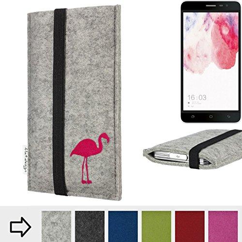 Handytasche COIMBRA mit Flamingo und Gummiband-Verschluss für Hisense F20 Dual-SIM - Schutz Case Etui Filz Made in Germany in hellgrau schwarz pink - passgenaue Handy Hülle für Hisense F20 Dual-SIM