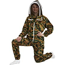 NATURAL APIARY - Apiarist Beekeeping Suit - Camouflage - (All-in-One) - Fencing Veil - Total Protection for Professional & Beginner Beekeepers - Medium