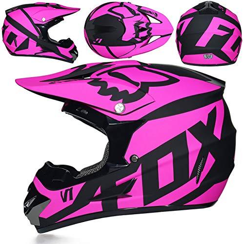 Helmet Motocross Kids Kinderhelm-ECE-Zertifizierung Jugend Quad Crash DH Vollgesichts Offroad Downhill Dirt Bike MX ATV Motorradhelm für Jungen Mädchen,Pink,M