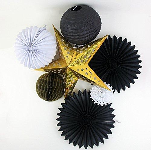 sunbeauty 7Stück Gold Star Plissiert weiß Papier Laterne Seidenpapier Fans Wabenbälle für Hochzeit Geburtstag Baby Dusche Dekoration (schwarz & weiß & gold) Black&White&Gold