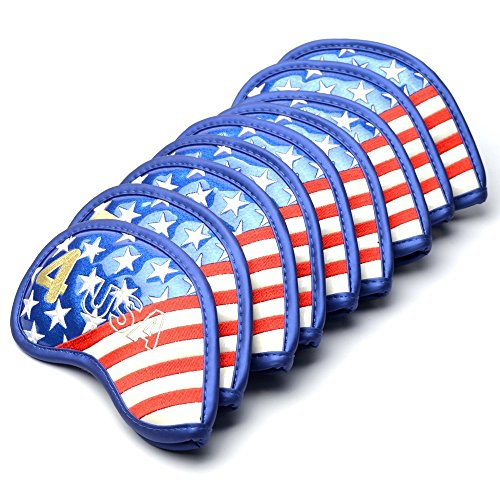 COOLSKY Golf Club Leder Iron Head Covers USA/UK Flagge Muster Dick Synthetisches PU-mit Klettverschluss Passend für die Meisten Bügeleisen und Keile, Set 9, usa-Flagge -