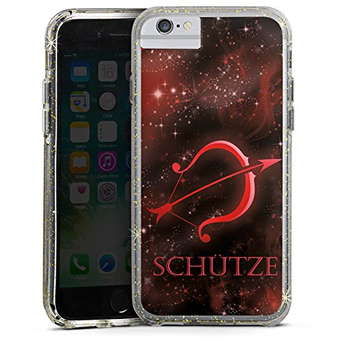 Apple iPhone 6s Plus Bumper Hülle Bumper Case Glitzer Hülle Sternzeichen Bogen Pfeil Bumper Case Glitzer gold