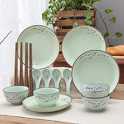 XZDXR Geschirr Haushalt Keramik Geschirr Geschirr Set Platte Kombination Pack 16 Kopf hellgrün