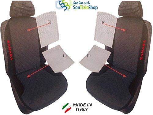 Paar von Rückenlehnen für Auto. Sitzbezüge universal Benutzerdefinierte mit Stickerei auf Draht: Sahara TJ. rot
