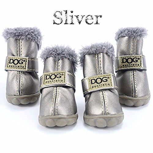 4 pcs/set Hund Schuhe Winter super warm Hund die Stiefel Baumwolle Rutschfeste XS 2XL Schuhe für kleine Pet-Wasserdicht, Silber, L