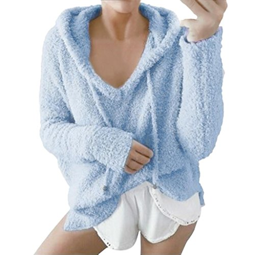 Hoodie Sweatshirt Damen, DoraMe Frauen Mohair Kapuzenpullover Winter Warme Bluse Langarmshirts Kapuzen Pullover mit Kordelzug (Blau, S) (Kapuzen-kurzarm-shorts)