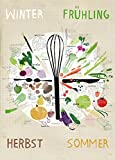 Kunstdruck Poster | Saisonkalender | 50x70 cm | Ungerahmt | Illustration, Grafik, Gemüse, Garten, XXL Print