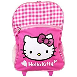 Full Size Pink Hello Kitty Rolling Mochila - Hello Kitty Maleta con Ruedas