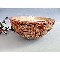 Kerzenfresser, Kerzenrestefresser, Tischfackel, Kerzen Recycling, Gartenfackel, Flammschale aus Keramik, ca. 15x7,5 cm, zum Schmelzen von Kerzen- und Wachsresten, mit windfestem Dauerdocht