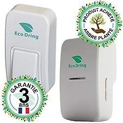 EcoDring Sonnette sans Fil sans Pile ECO ✮ Garantie Française 3 Ans ✮ portée jusqu'à 80 mètres, résistant à l'eau IPX7 + Stickers pour nom + phosphorescents 25 mélodies