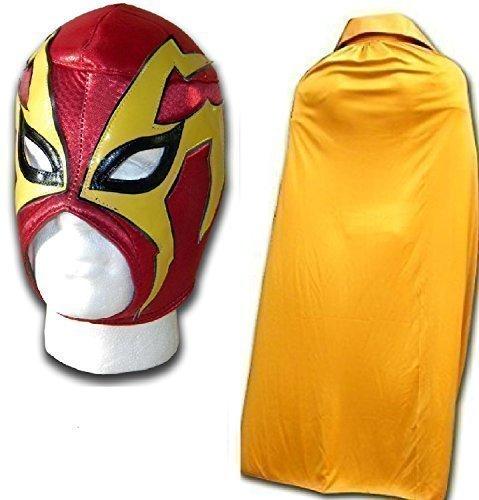 (SCHOCKER ROT erwachsene luchador mexikanisch ringer maske Mit gold UMHANG)