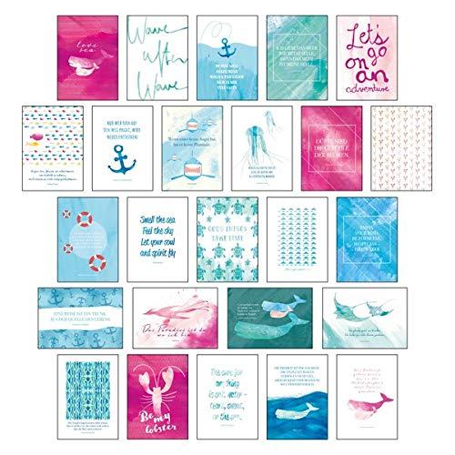 """Postkarten Set \""""Sand & Sea\"""" - 25 hochwertige Postkarten mit sommerlichen Motiven sowie inspirierenden und motivierenden Sprüchen & Zitaten zum ... Spruchkarten Sommer, Sonne, Strand & Meer"""