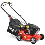 HECHT Benzin-Rasenmäher 5406 Benzin-Mäher (3,5 PS Motorleistung, 40 cm Schnittbreite, 3-fache Schnitthöhenverstellung 25-55 mm, 40 Liter Gras-Fangsack)