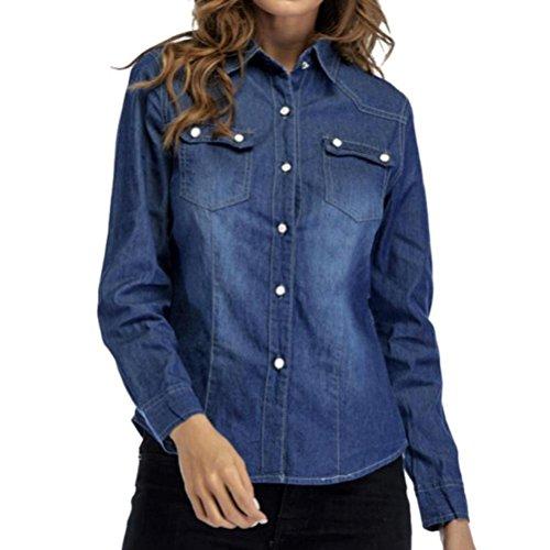 LuckyGirls ❤️• •❤️ Mujer Camisetas Manga Larga Camisa Vaquera Bolsillo Tops Blusa Sudaderas Camisas (S, Azul Oscuro)
