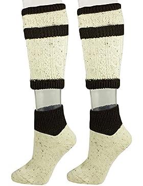 Loferl Trachtensocken Natur und Dunkelbraun - Schöne zweiteilige Loferl Strümpfe bestehend aus Socken und Wadenwärmer