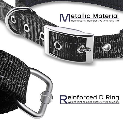 Hundehalsbänder Reflektierend, PETBABAB Gepolstert Verstellbar Nylon Training Hunde Halsband für Hunde Schwarz - 5