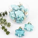 Weihnachtskugel Sterne Premium 10er Set Glas 4x4x2cm Xmas Baumschmuck (Aqua)