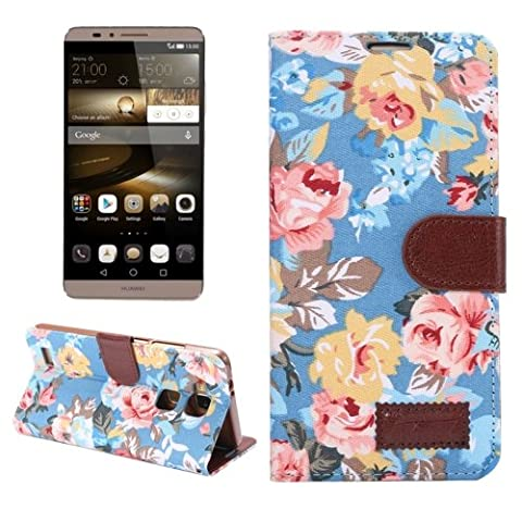 Floral Magnetic Cloth Snap Flip Cover Housse Coque Etui Housse + Case and Card Holder Slots pour Huawei Ascend Mate 7/MT7 (Blue)