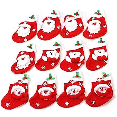 HAPPY ELEMENTS Non tessuto Mini Red Socks bambole di Natale decorazioni da tavola per Cucchiaio Forchette del partito della casa Accessori ornamento (12 pz)