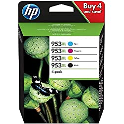 HP 953XL Pack de 4 Cartouches d'Encre Noir/Cyan/Magenta/Jaune Haute Capacité Authentiques, pour HP OfficeJet Pro 8710/8715/8720 (3HZ52AE)