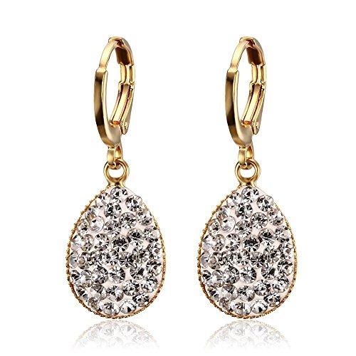 Vnox Girl in acciaio inox cristallo Beads Teardrop delle donne a forma di ciondola orecchini di goccia d'oro,creolo