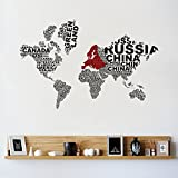 Decor Kafe World Map Wall Sticker Standard Size- 96cm X 60cm Color - Multicolor (Suitable For - Bedroom, Kitchen , Bathroom , Or Any Type Of Smooth Surface)
