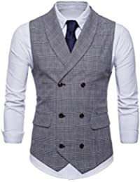 ALIKEEY Hombres Chaqueta De Abrigo Sin Mangas Estampado Plaid Button Casual  Chaleco Blusa Traje Británico Vestir Fiesta Gemelos Cuadros 261a1083eb01