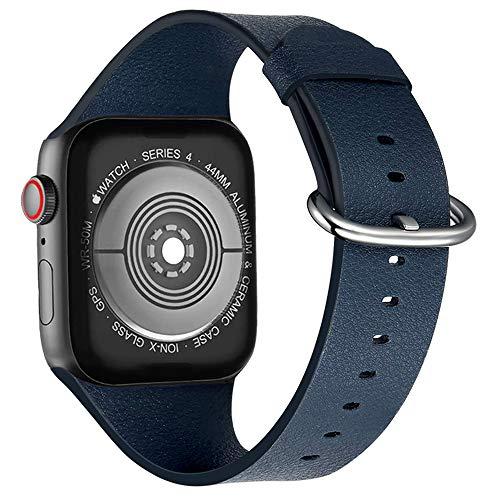 iBazal Kompatibel iWatch Series 4 Armband 44mm 42mm Series 3 2 1 Leder Bands Uhrenarmband Uhrarmband Echtes Lederarmband Lederband Watchband Herren Damen Uhr Zubehör - Alles in Einem Blau