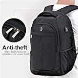 Sosoon Laptop Backpack with USB Charging Port Business Anti-Theft Water Resistant Polyester Travel Backpack School Bookbag for College Up to 15.6-Inch Laptop and Notebook