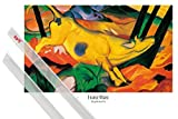 1art1 Poster + Hanger: Franz Marc Poster (91x61 cm) Die Gelbe Kuh, 1911 Inklusive EIN Paar Posterleisten, Transparent