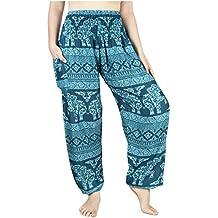 Lofbaz Mujer Pantalones Harem con Cintura Calada de Rayon Smoked Flowy  Hippie 5514ab2e8f57