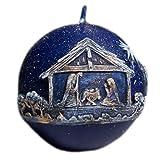 Kerze Deko Kugelkerze dunkelblau Bethlehem Krippe 05599 Wachs Relief 100