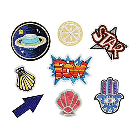 8pcs Stickerei Stern Pow Applikation nähen Eisen auf Patch Badge