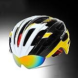 230g Casque de vélo VTT de vélo de vélo de vélo de montagne de vélo de vélo de vélo de vélo de montagne de qualité supérieure spécialisé pour le vélo de route et de montagne - Casques de vélo certifiés de sécurité pour les hommes et les femmes adultes, garçons et filles ados - confortable, léger, respirant ( Color : Yellow and white )