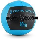 Capital Sports Wallba Wall Ball Medizinball Leder Gymnastikball (griffige Oberfläche, vernähtes Kunstleder, erhältlich 4kg 6 kg 8kg 9kg 10kg 12kg oder 14kg)