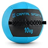 Capital Sports Wallba 10 Wall Ball Leder Medizinball 10kg Trainingsgewicht (Kunstleder, klassisches Design, extra griffiges Handling) dunkelblau