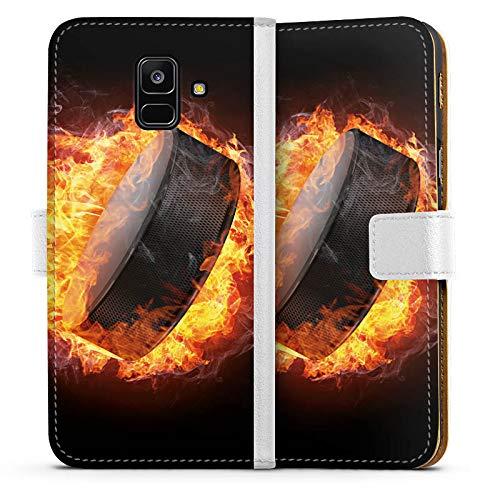 DeinDesign Tasche kompatibel mit Samsung Galaxy A6 (2018) Leder Flip Case Ledertasche Eishockey Flammen Slapshot