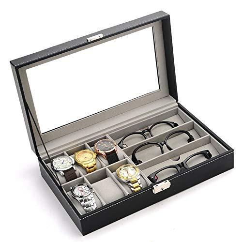 ColorYan Mens Geschenk 6 Uhr Slot +3 Brillen Grids Watch Case Halter Armbanduhr Vitrine Schmuck Geschenk Aufbewahrungsbox Männer Frauen Schmuck Halter Geschenk (Watch Für Vitrine Männer)