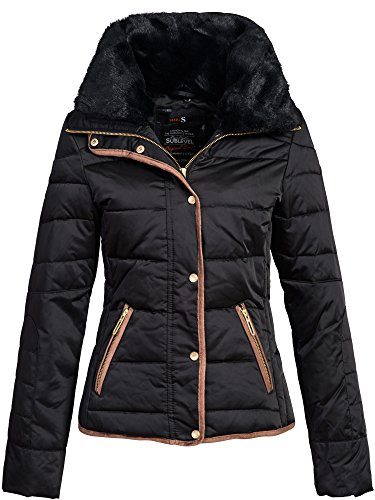 Veste d'hiver–Manteau d'Hiver–Modèle Veste matelassée à pour femme 44204b par Sublevel–élégant Duvet de court manteau de style schlanken Parka avec col en fourrure en fourrure synthétique Noir - Noir