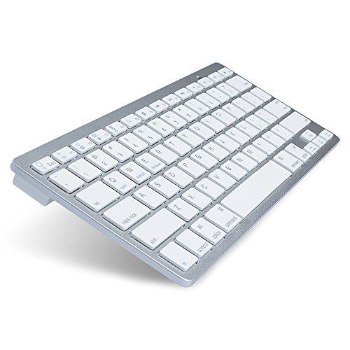 Ultra Slim Multimedia Tastiera Bluetooth Senza Fili per iPhone, iPad Pro, iPad Air, iPad Mini, iPad 2/3/4, Galaxy Tab, Mac, iOS, Android, tablet, PC, Windows e tutti i dispositivi Bluetooth