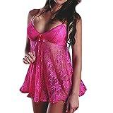 MCYs Damen Dessous Nachtwäsche Babydoll Lace Robe Nacht Spitzenkleid Bodysuit Unterwäsche Negligee Nachthemd Set Nachthemd + Tanga (Hot Pink)