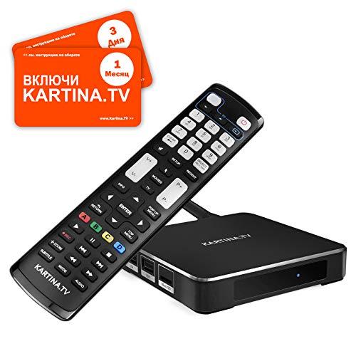 Kartina X IPTV Box + 1 Месяц Абонемент Картина ТВ - IPTV Receiver für Kartina.TV - Russisches Fernsehen - 4k Ultra HD 1080p 4Kp603D HEVC H.265 HDMI Micro SD USB Ethernet - Linux + Android TV-175K