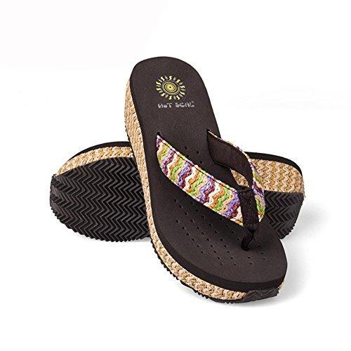 SCARPE DONNA Zeppa flip flip sandali di svago Boemia più colori tra cui scegliere 5264 brown