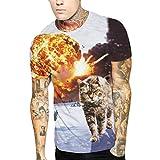 Liebhaber T-Shirt Herren 3D Katze Druckoberseiten Kurzarm Bluse Tees Shirt GreatestPAK