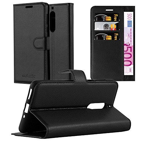 Cadorabo Hülle für Nokia 5-2017 - Hülle in Phantom SCHWARZ – Handyhülle mit Kartenfach und Standfunktion - Case Cover Schutzhülle Etui Tasche Book Klapp Style