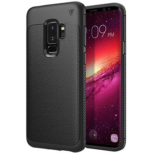 MoKo Samsung Galaxy S9 Plus Étui, Coque de Protection en Cuir PU + TPU Bumper Coque Protectif Anti-Chocs Anti-Rayures pour Samsung Galaxy S9 Plus, Noir