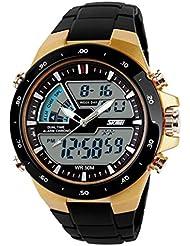Amsion Hombre de pantalla dual impermeable multifunción LED goma reloj deportivo de alarma (oro)