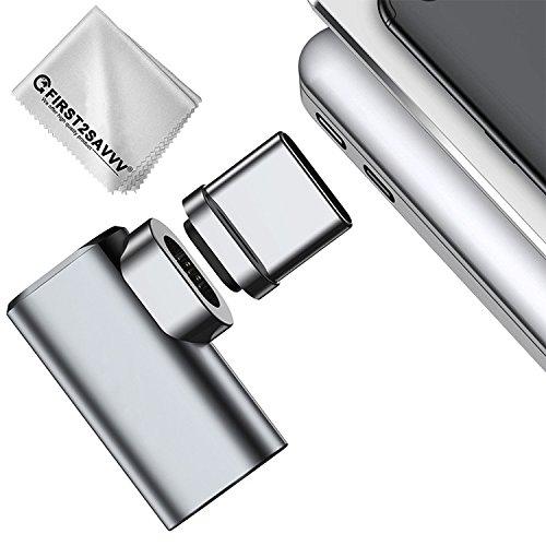 First2savvv 4.3A Type C USB C magnétique adaptateur, Convertisseur de câble en aluminium Type C à Type C Prise de connecteur MagSafe 4.3 A Charge rapide maximale pour MacBook Pro 2017/2016, Samsung Galaxy Note 8 / S8 TYPE C-Macbook-B-11
