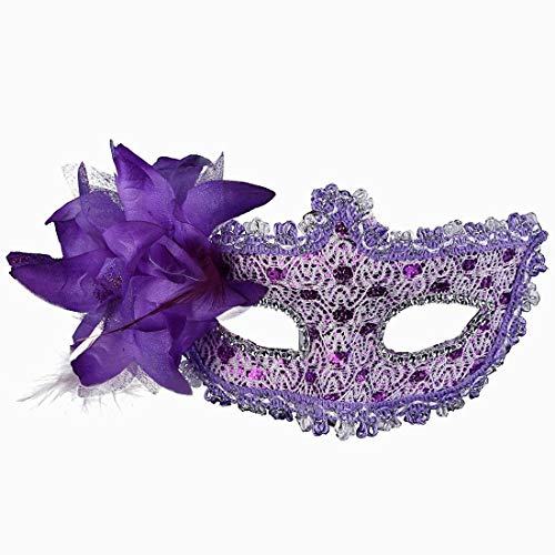 Xiton Frauen Venedig Sexy Spitzen-Maske mit Strass