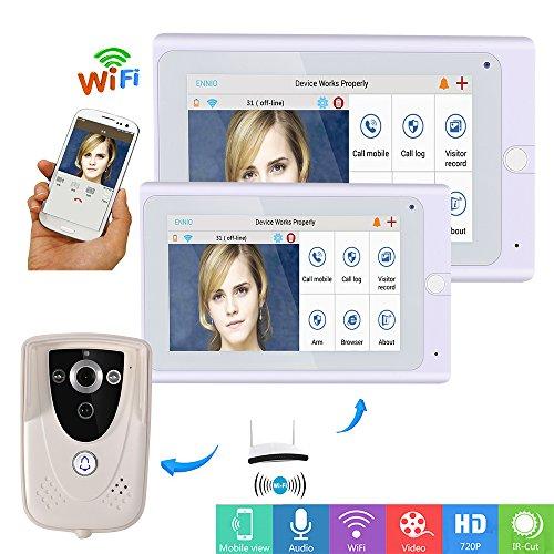 """ZY 720P 7\""""WiFi Wireless Video-Türsprechanlage Sprechanlage Türklingel IP Kamera PIR IR Nachtsicht mit 2 Monitor"""